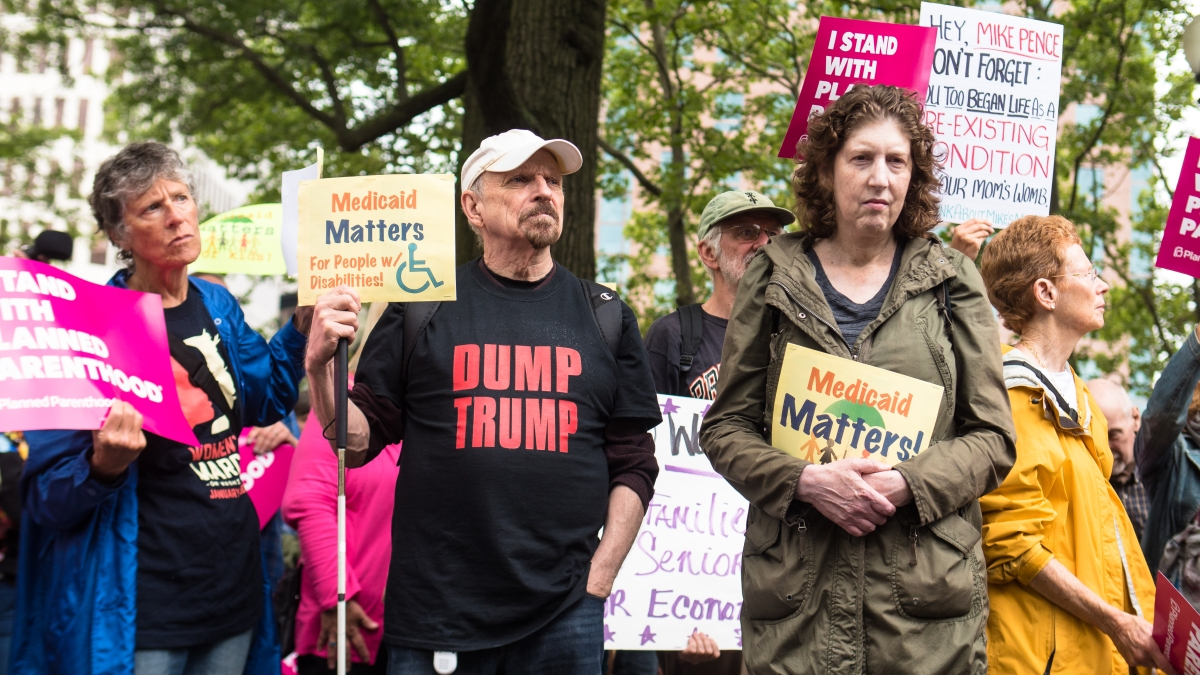 Southern New England activists turn out for healthcare during VPVisit.